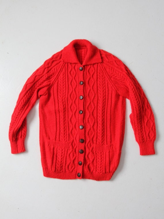 vintage red cable knit cardigan sweater
