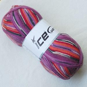 Fingering Weight Superwash Wool Tweed 100 g 052156 Orange Grey Green Cream Blue Self Striping Sock Yarn