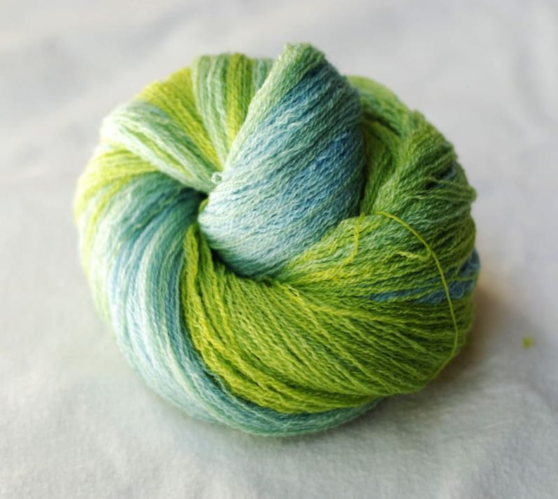 Blue Hand Dyed Hand Painted Recycled Green-Yellow Merino Gradient Yarn lot #6 Lace Weight 504 yards