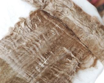 Silk Fiber, Peduncle Nassi Silk Lap, Fiber for Spinning, Felting, Natural Golden Brown Color