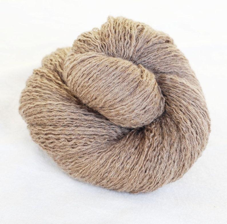261 yards Light Brown Extra Fine Merino Wool Recycled Yarn Light Fingering