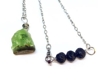 Okinawan Sea Glass Diffuser Necklace