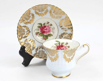 English Teacup, English Bone China, Pale Blue and Gold Filigree, Fit for a Queen, Vintage English Tea Set, c1957, Vintage Tea Party