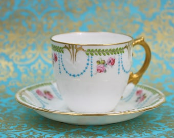 Enameled Royal Crown Derby Demitasse Cup & Saucer, Enameled Decoration, Made in England, Rare, c1893, Vintage Tea Party
