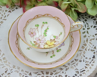 English Teacup and Saucer Set, Pink Teacup Set, Handpainted, Wild Flowers Teacup, Tuscan Fine China, c1947, Vintage Tea Party