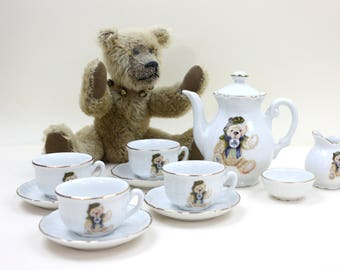 Child's Porcelain Tea Set, Irish Paddy Bear, Limited Edition, Toy Tea Set, 12-Piece Set, Roehler Collection, Made in Germany, c1980s