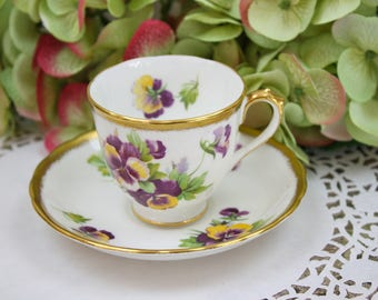 Royal Chelsea Teacup and Saucer Set, Pansy Teacup, Purple and Yellow, Floral Teacup,  English Bone China Tea Set, c1950s, Vintage Tea Party
