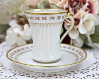 Limoges Chocolate Cup and Saucer, Pink Roses and Gilt, Limoges France, Made for Gumps, San Francisco, c1940s, Vintage Tea Party
