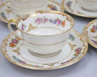 Ornate Floral Tea Cups and Saucers, Dresden Style Teacups, Floral and Gold Filigree, Royal Bayreuth China, c1920s, Multiple Sets Available