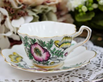 Scalloped Tea Cup, Vintage Teacup, Bone China Tea Cup, English China Tea Cup, Poppy Flowers, Rosina China, c1952, Vintage Tea Party