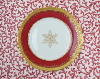 "French Limoges Plates - Set of 6 Plates, 8.5"" Luncheon Plates, Red & Gold Encrusted Plates, C. Ahrenfeldt, France, Vintage China Plates"