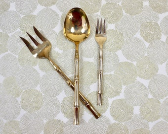 Lady Hamilton 22K Gold Decorative Spoon and Fork Salad Set