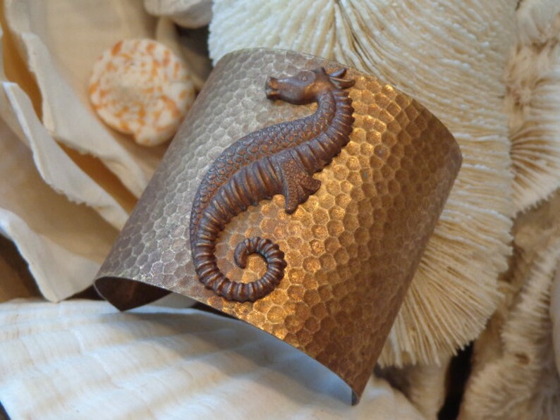 Rich Layers of Caramel Antiqued Brown Hues Adjustable Versatile OOAK Comfy Weight SALE Toasted Tropics  Seahorse Cuff Bracelet Textured