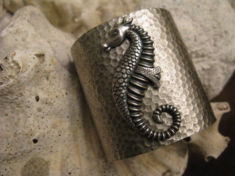 SALE ! Iconic Mr  Seahorse Silver Seas Cuff Bracelet Old Florida Vibe  Emersed in Antiqued Silver Hued Water Texture Comfy Weight Adjustable