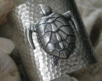 Sea Turtle Rising Cuff Bold Statement Bracelet Tropical Vibe Emersed in Antiqued Silver Hued Water Texture Comfy Weight Adjustable