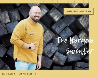 The Horacio Sweater - A Knitting pattern only (not finished Sweater) (Provided in English and French)