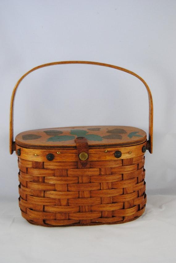 Vintage basket purse Boho purse Vintage splint bas