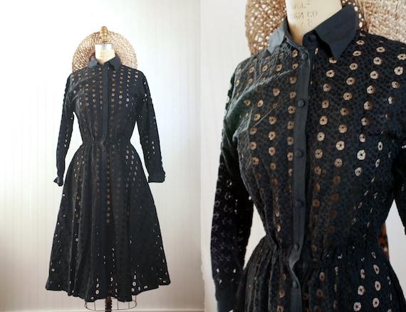 50s black eyelet dress || long sleeve circle eyele