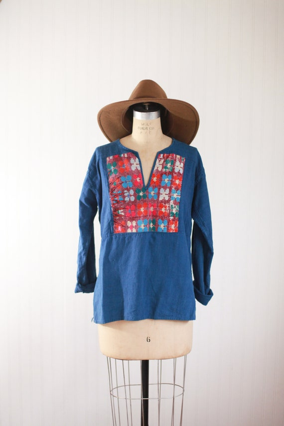 heavily embroidered chambray shirt - large