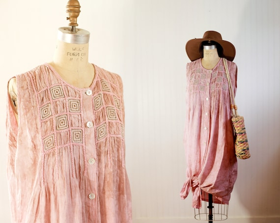 dappled blush embroidered cotton dress - medium