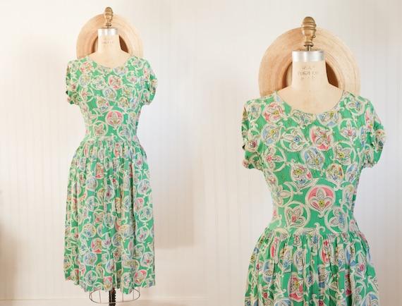 1930s fleur de lis dress || As Is || Size XS/S 25