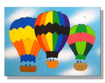 Wooden Puzzle for Child | Hot Air Balloons