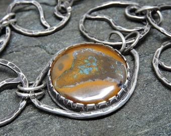 Boulder Opal Bracelet, Handwrought Link Bracelet, Sterling Silver Scrollwork, Flowing Silver Bracelet, Artisan Made, Adjustable Bracelet