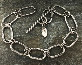 Sterling Link Bracelet, Adjustable, Forged, Textured Oval Links,Toggle Clasp, Handmade Chain Bracelet, Handcrafted Chain, Mens Bracelet
