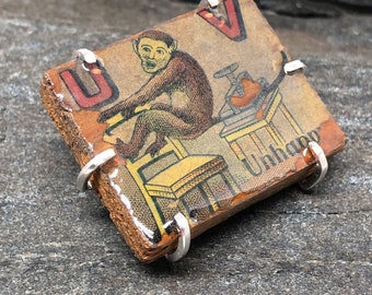 Fun, Alphabet Block Brooch, Vintage Childrens Toy, Upcycled Vintage Toy, Art Jewelry, Eclectic Jewelry, U, V, Litho art, Monkey, Made in NH
