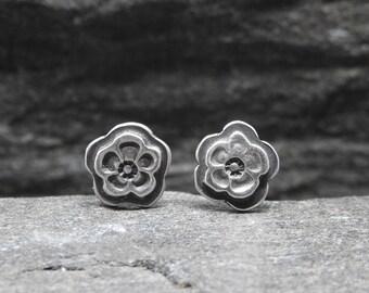 Flower Earrings, Floral Studs, Post Back Earrings, Artisan Made, Sterling Silver, Flowers, Every Day, Modern Earrings, Silver Studs, Small