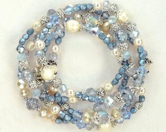 The Shoreline Bracelet - 5 stack blue cream pearl silver boho stretch bracelet set. music vanfan gift