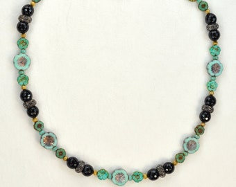 The Butterfly Garden Necklace - beaded black, turquoise, mint green w/gold  21 inch, artisan music van fan gift