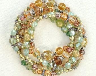 The Sherwood Forest Bracelet - 5 stack green gold smoky topaz w/silver boho stretchy bracelet set, music van fan gift