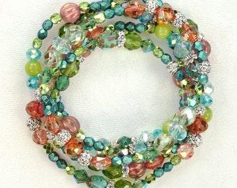 The Pink Grapefruit Cooler Bracelet - 5 stack pink aqua green silver boho stretch bracelet set, music van fan gift