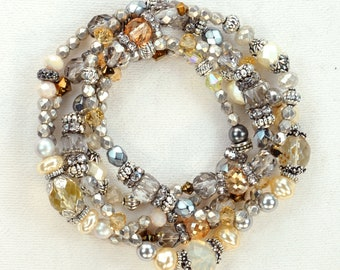 The Silver Stairway Bracelet - 5 stack boho bracelet set, Lovebeads By Janet Planet, one of a kind