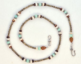 """The Laid Back Lovebeads - boho gemstone beads, blue brown cream, Janet Planet artisan, made in USA, casual 26"""" beads, music inspired"""