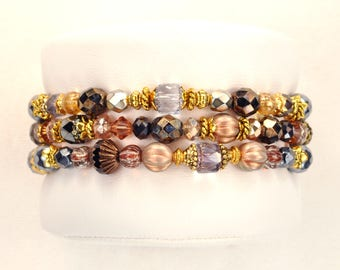 The Zentangle Bracelet - layering - stacking - black & gold - set of 3 - goddess - rock music - boho glam - friendship - mala - boho beaded