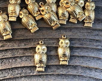 4 large brass owl charms