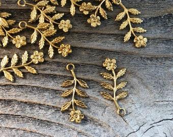 12 brass flower spray charms