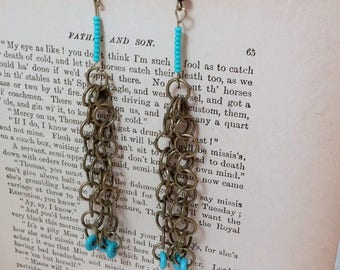 Bronze Ring Chain Dangle Earrings with Turqoise Beads, Hippie, Gypsy, Boho, Fairy