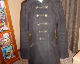 Vintage 80s Black Wool Military Inspired Jacket Coat