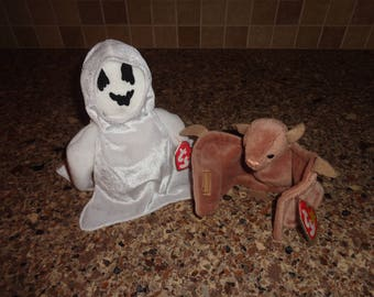 RARE!  Retired Ty Beanie Babies Sheets the Ghost and Batty the Bat MWMT