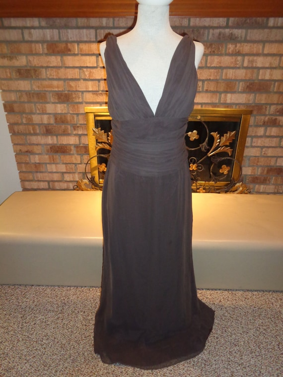 Vintage 90s Chocolate Brown Chiffon Evening Gown Etsy