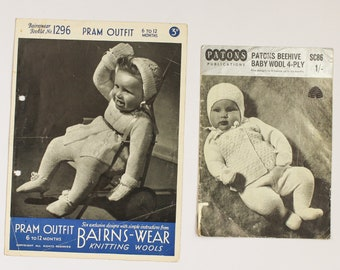 1950s British Baby Knitting Patterns - Pram Outfit, Cardigans, Jumpers, Layette