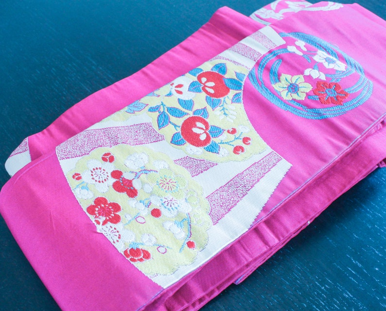 9d6c04bad Vintage Japanese Obi Belt Wrap - Dark Pink fan and floral design, Magenta,  Fuchsia, Japan Traditional Clothing