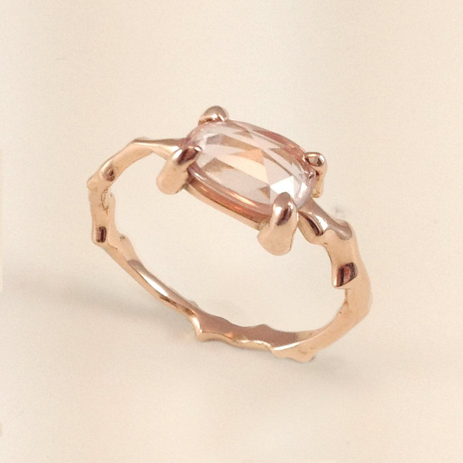 twig engagement ring in 18 carat solid gold with rose cut