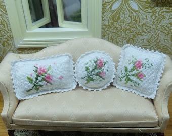 dollhouse cross stitch set of 3 pillows - 1:12 scale pillow cushion - crocheted decorative border