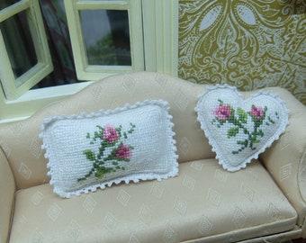 dollhouse cross stitch set of 2 pillows - 1:12 scale pillow cushion - crocheted decorative border