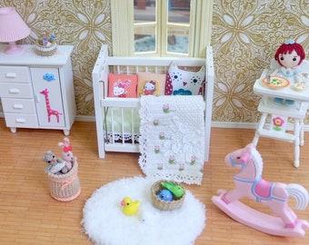 OOAK nursery items miniatures- nursery dollhouse - 1:12 scale - pillow cushions