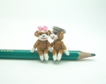 1 inch miniature couple sock monkeys - Tiny amigurumi crochet animal